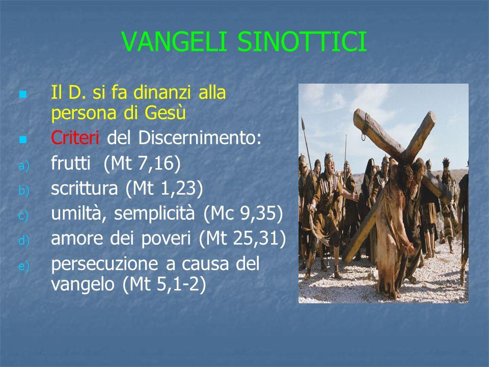 VANGELI SINOTTICI Il D. si fa dinanzi alla persona di Gesù