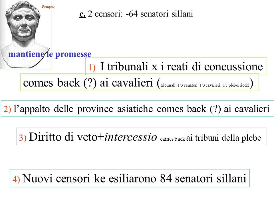 Pompeo c. 2 censori: -64 senatori sillani. mantiene le promesse. 1) I tribunali x i reati di concussione.