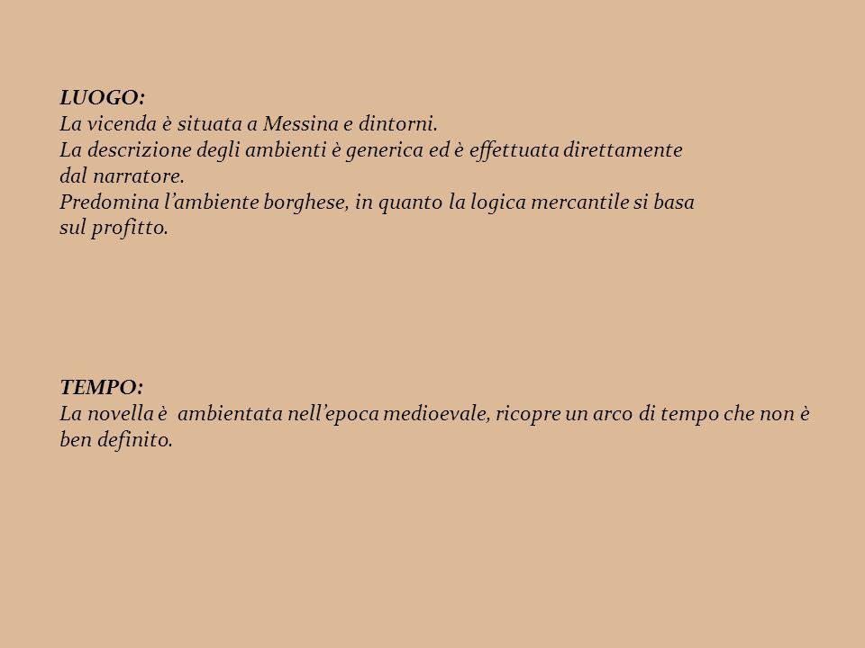 LUOGO: La vicenda è situata a Messina e dintorni. La descrizione degli ambienti è generica ed è effettuata direttamente.