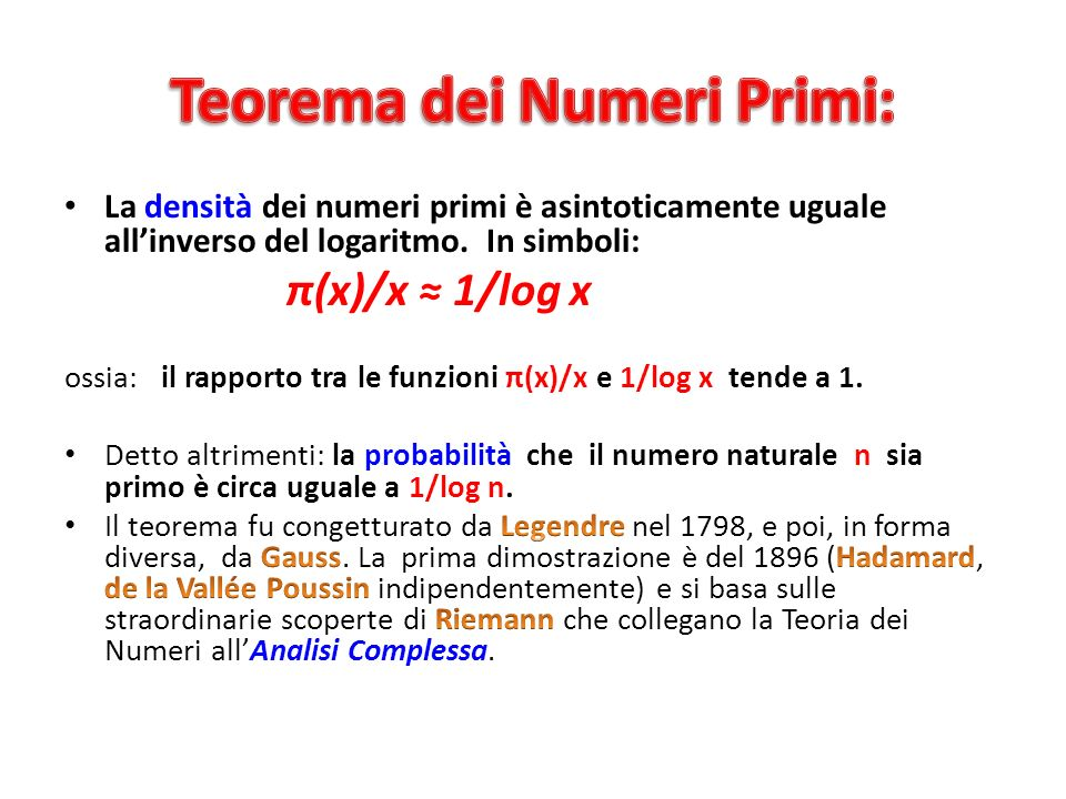 Teorema dei Numeri Primi: