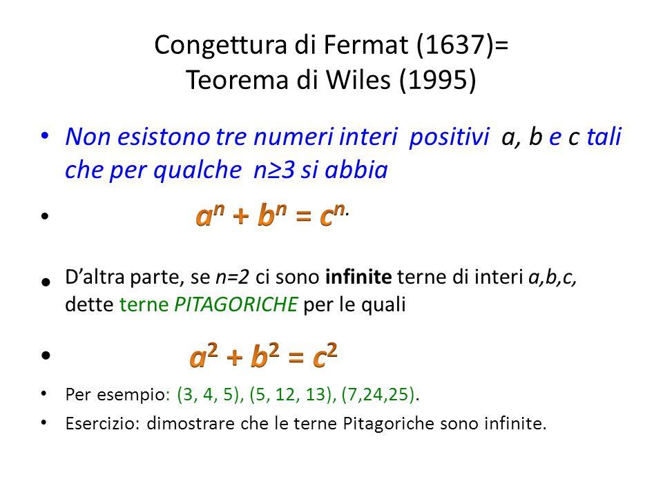 Congettura di Fermat (1637)= Teorema di Wiles (1995)