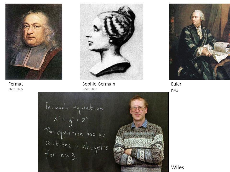 1 Fermat 1601-1665 Sophie Germain 1775-1831 Eulern=3 Wiles