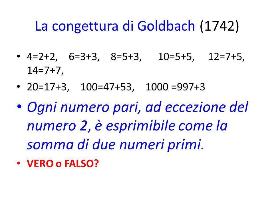 La congettura di Goldbach (1742)