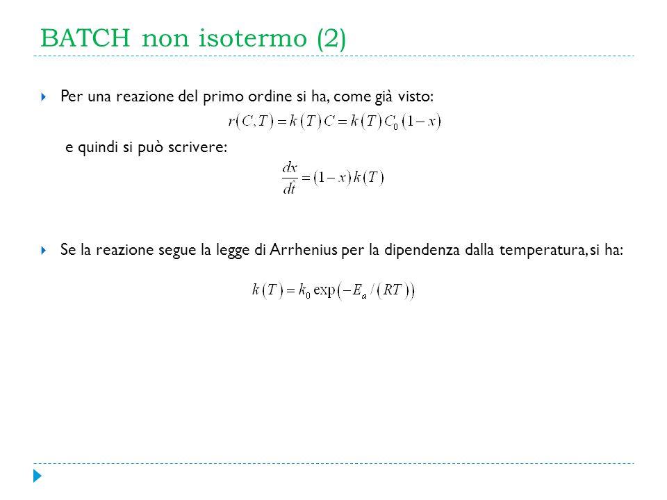 BATCH non isotermo (2) Per una reazione del primo ordine si ha, come già visto: e quindi si può scrivere: