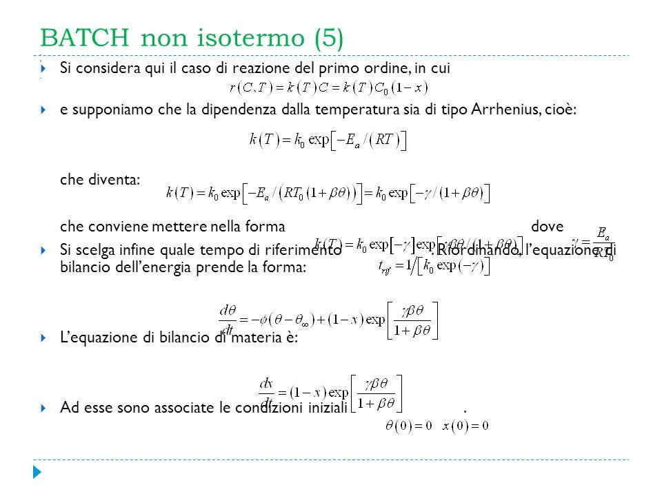 BATCH non isotermo (5) ; Si considera qui il caso di reazione del primo ordine, in cui.