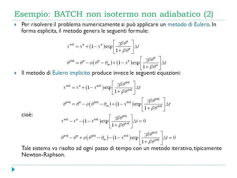 Esempio: BATCH non isotermo non adiabatico (2)