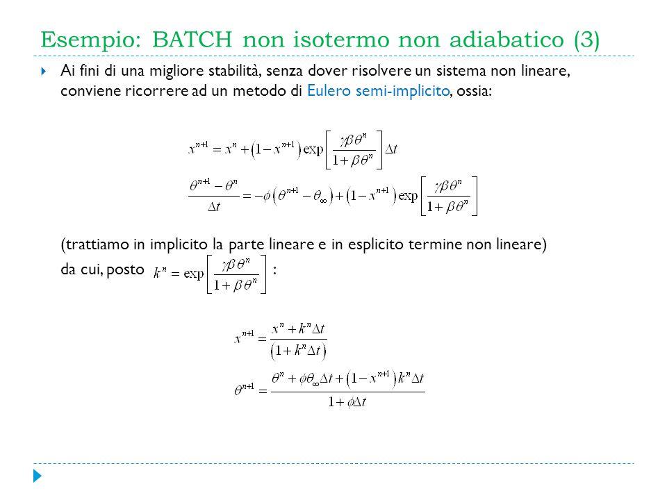 Esempio: BATCH non isotermo non adiabatico (3)