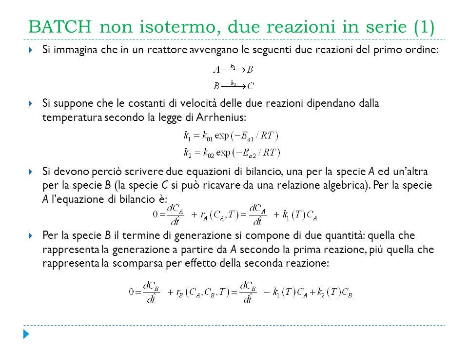 BATCH non isotermo, due reazioni in serie (1)
