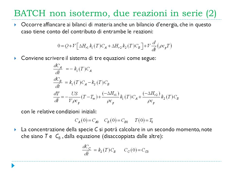 BATCH non isotermo, due reazioni in serie (2)