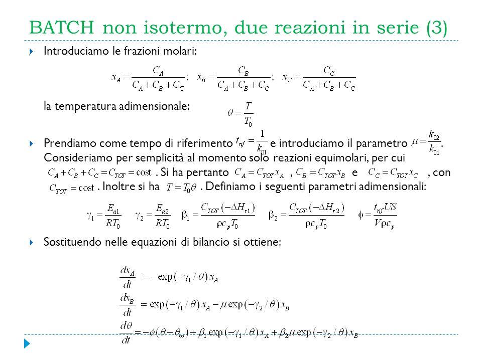 BATCH non isotermo, due reazioni in serie (3)