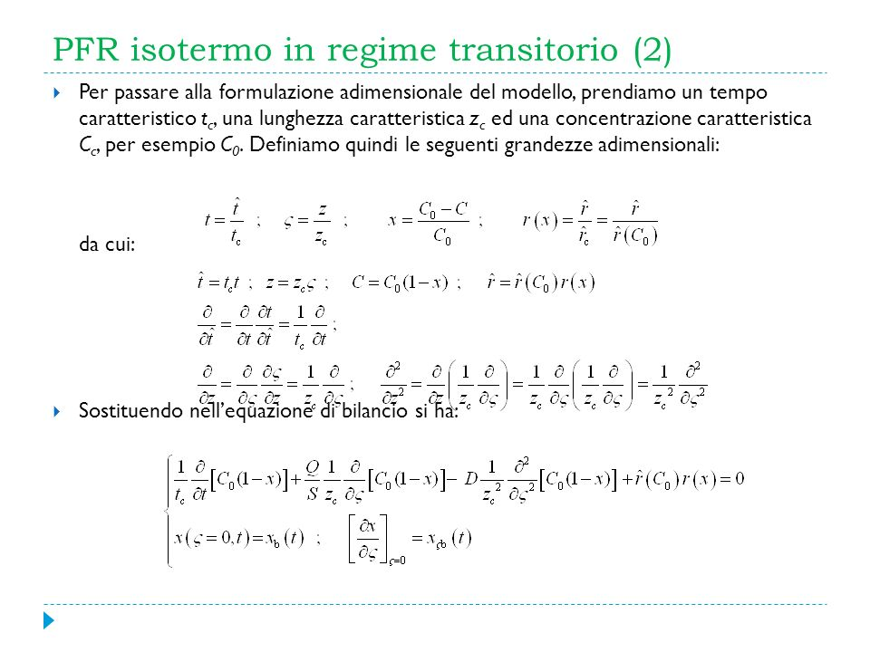 PFR isotermo in regime transitorio (2)