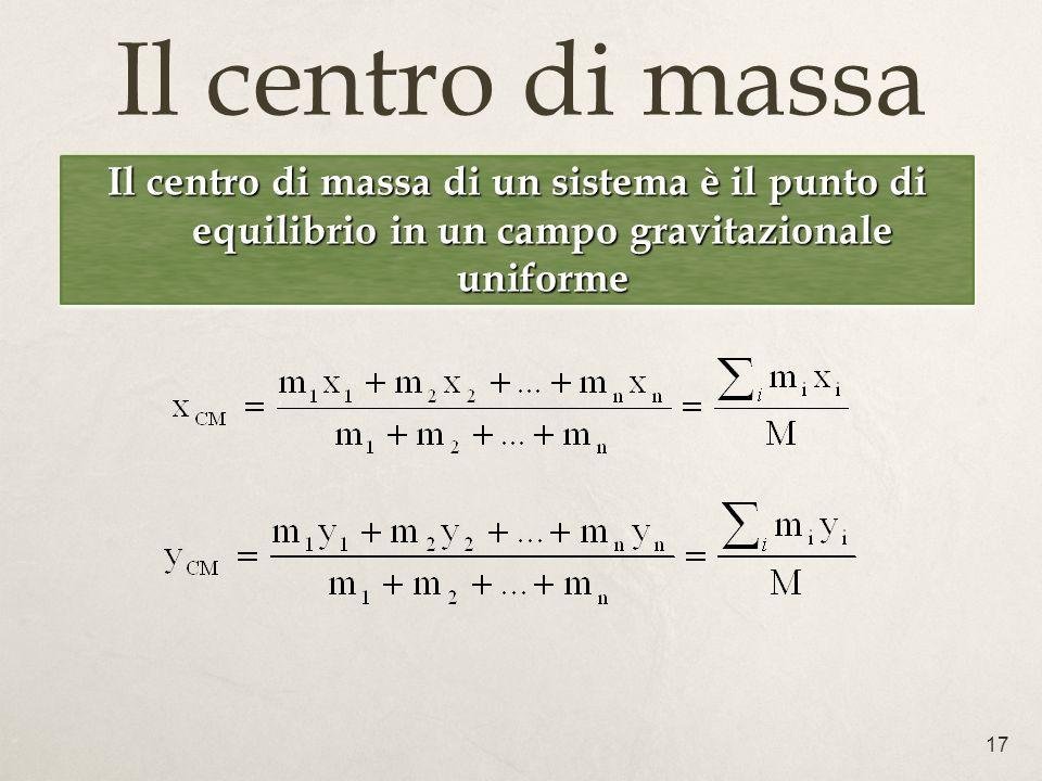 Il centro di massa Il centro di massa di un sistema è il punto di equilibrio in un campo gravitazionale uniforme.