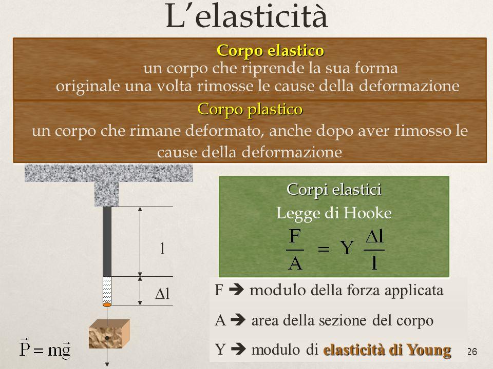 L'elasticità Corpo elastico un corpo che riprende la sua forma