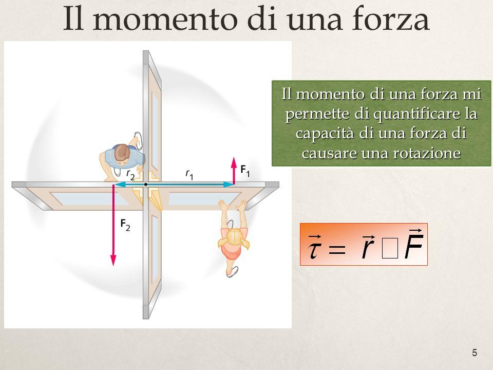 Il momento di una forza Il momento di una forza mi permette di quantificare la capacità di una forza di causare una rotazione.