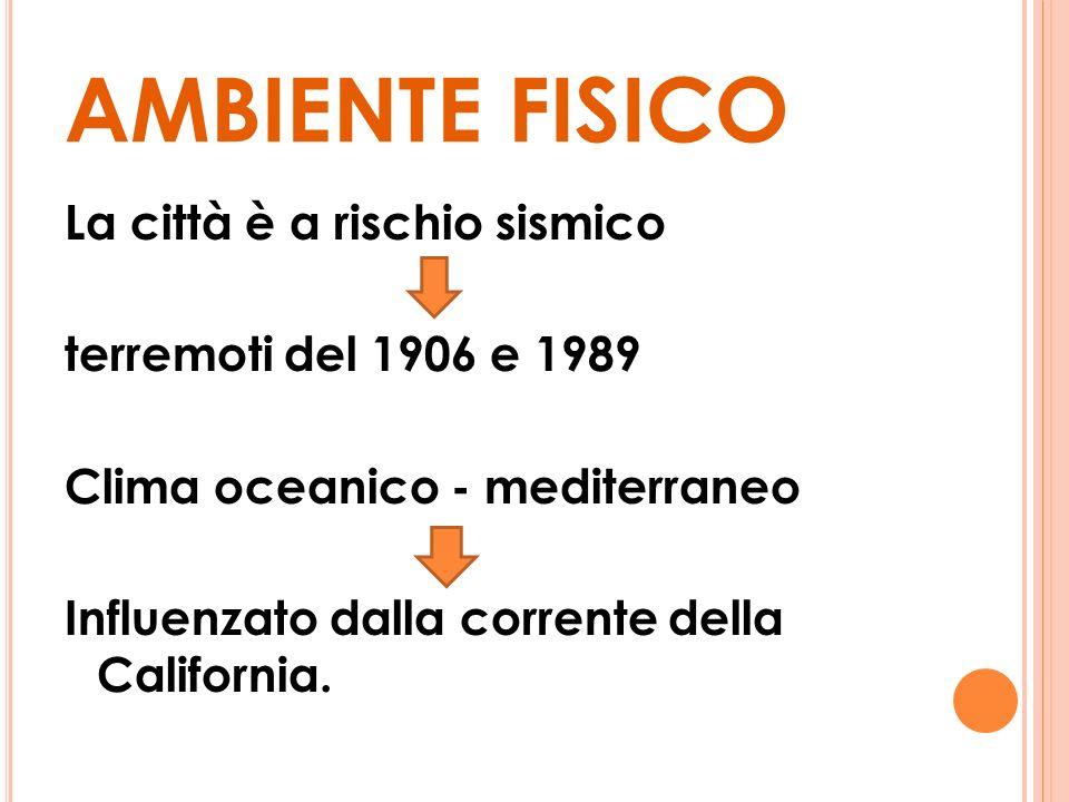 AMBIENTE FISICO La città è a rischio sismico terremoti del 1906 e 1989