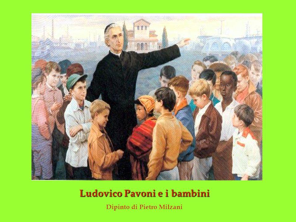 Ludovico Pavoni e i bambini Dipinto di Pietro Milzani