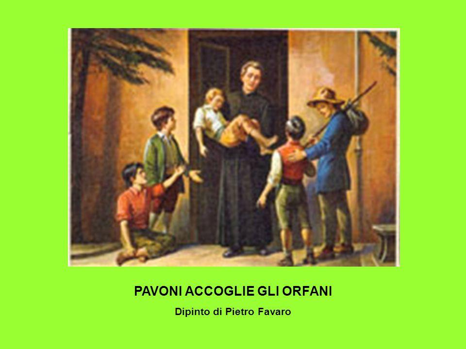 PAVONI ACCOGLIE GLI ORFANI Dipinto di Pietro Favaro