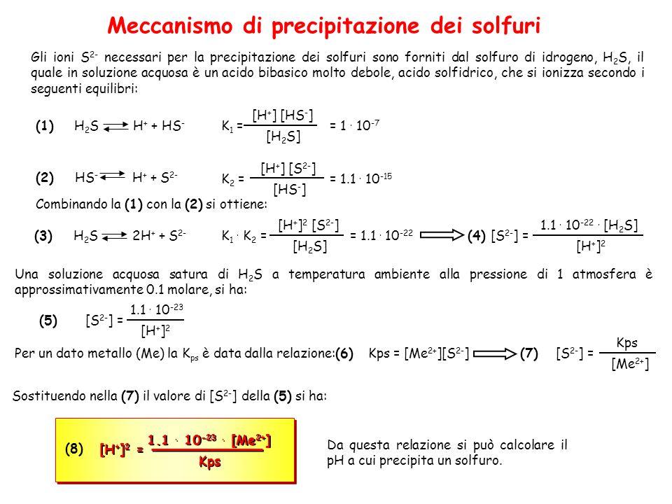 Meccanismo di precipitazione dei solfuri