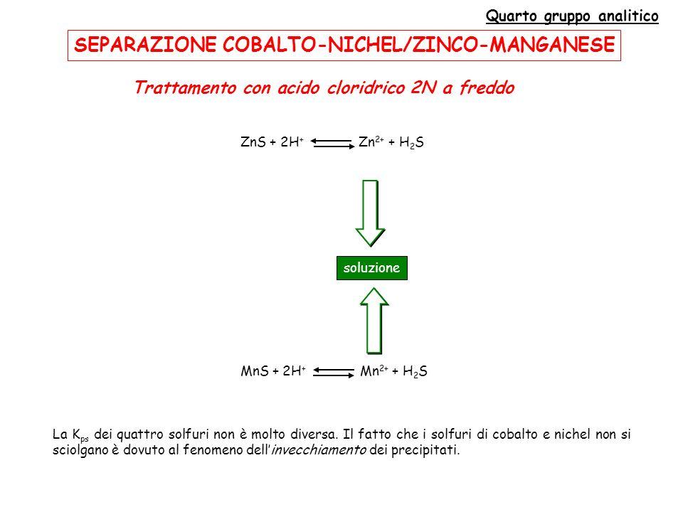 Quarto gruppo analitico Trattamento con acido cloridrico 2N a freddo