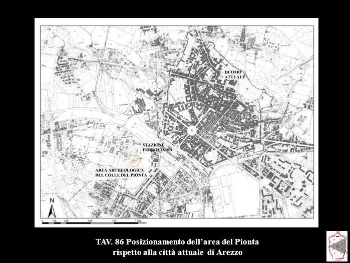 TAV. 86 Posizionamento dell'area del Pionta rispetto alla città attuale di Arezzo