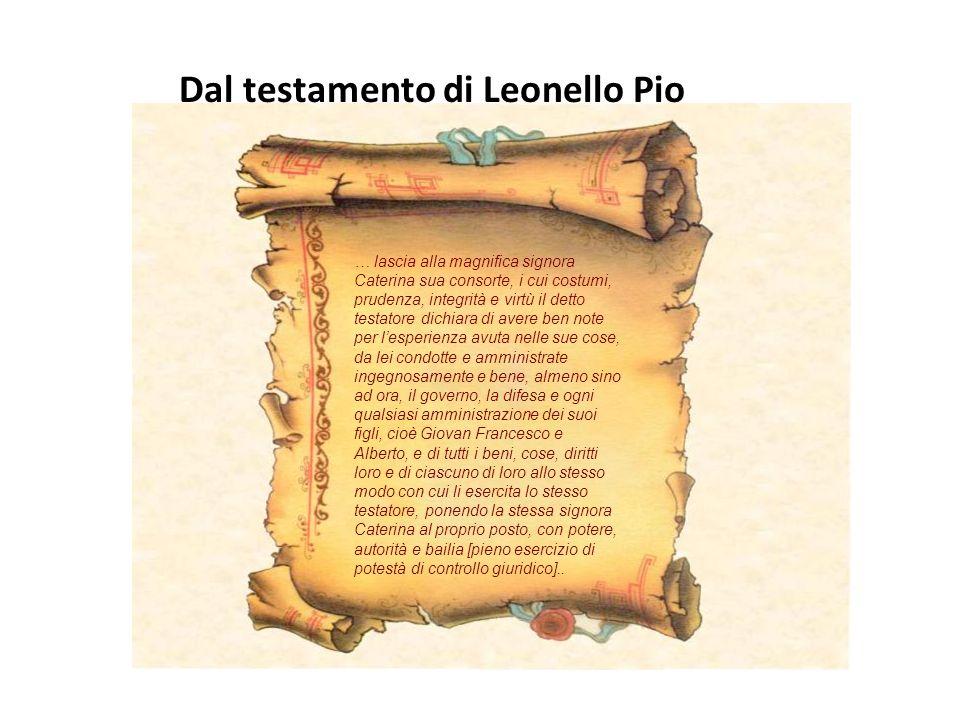 Dal testamento di Leonello Pio