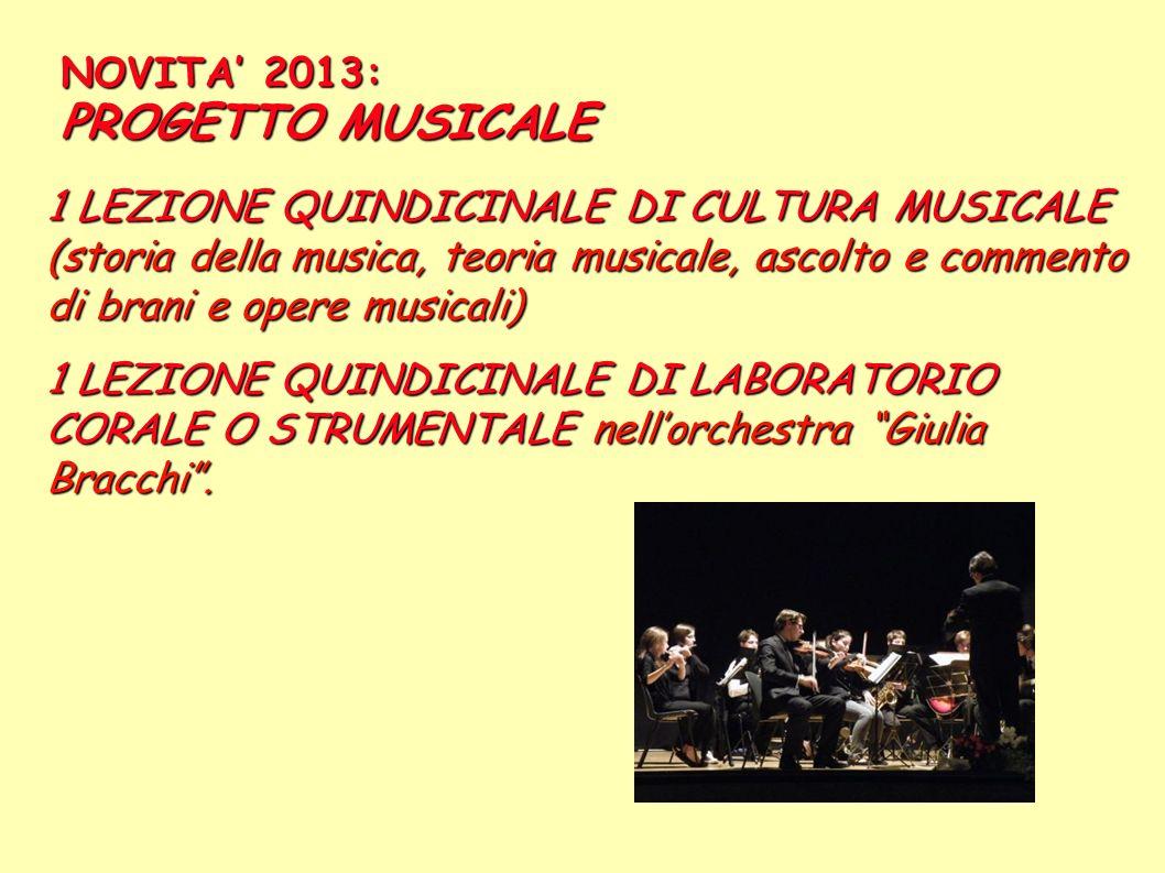 NOVITA' 2013: PROGETTO MUSICALE