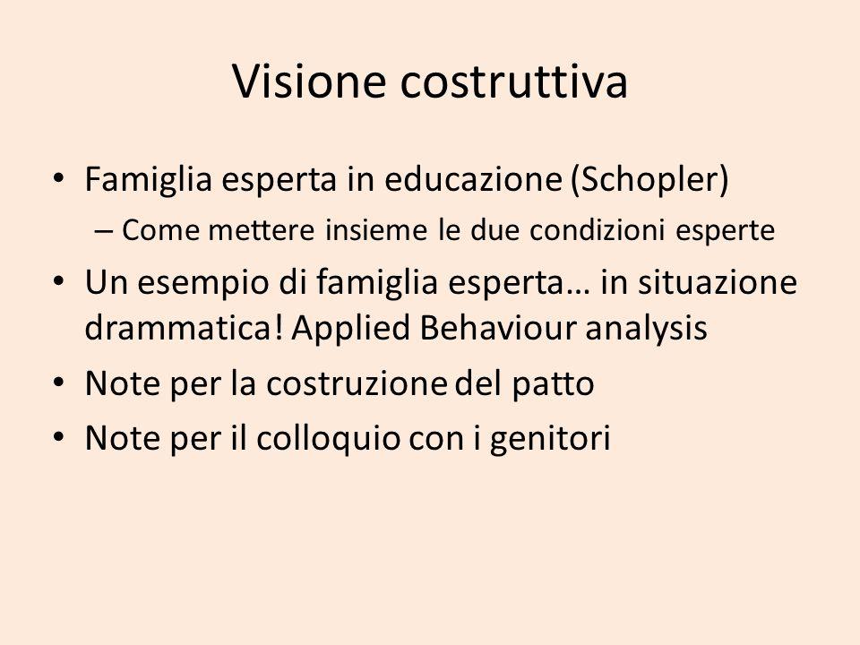 Visione costruttiva Famiglia esperta in educazione (Schopler)