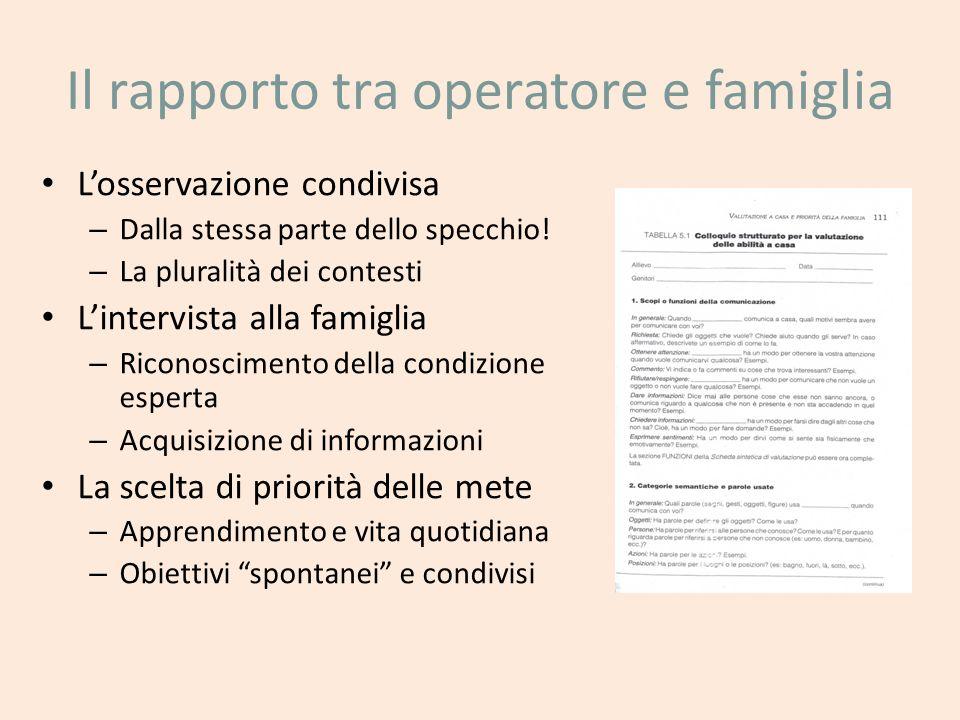 Il rapporto tra operatore e famiglia