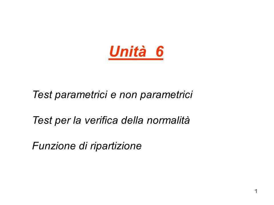 Unità 6 Test parametrici e non parametrici Test per la verifica della normalità Funzione di ripartizione.