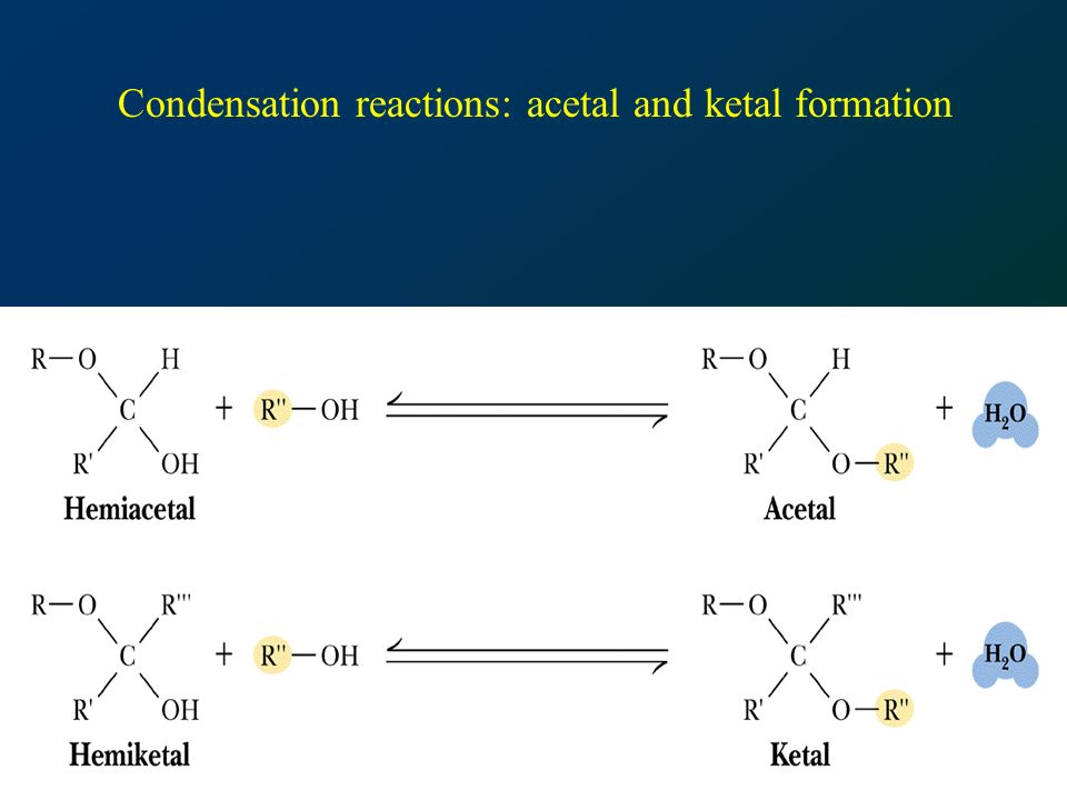 Condensation reactions: acetal and ketal formation