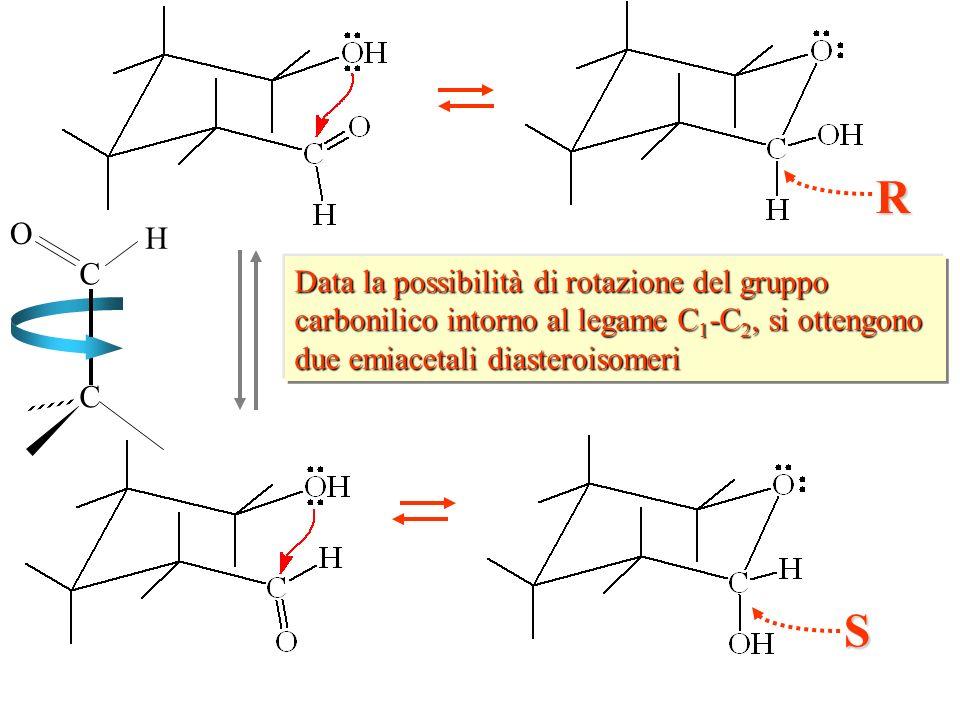 R C. H. O. Data la possibilità di rotazione del gruppo carbonilico intorno al legame C1-C2, si ottengono due emiacetali diasteroisomeri.