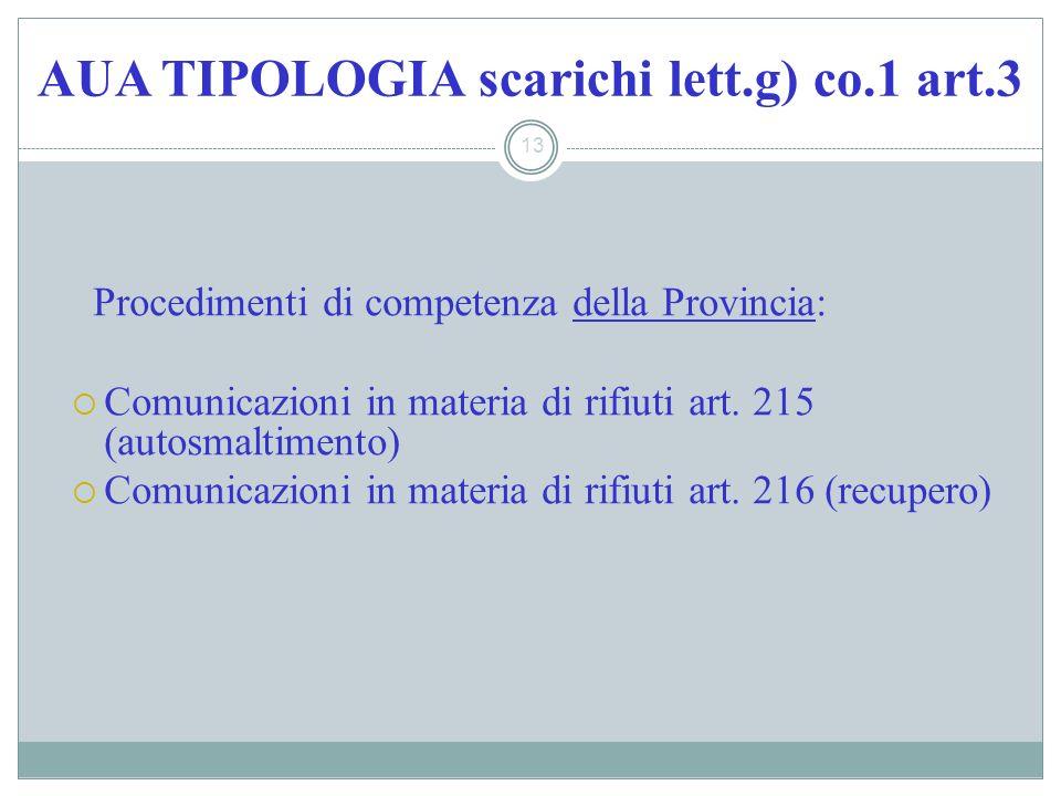 AUA TIPOLOGIA scarichi lett.g) co.1 art.3