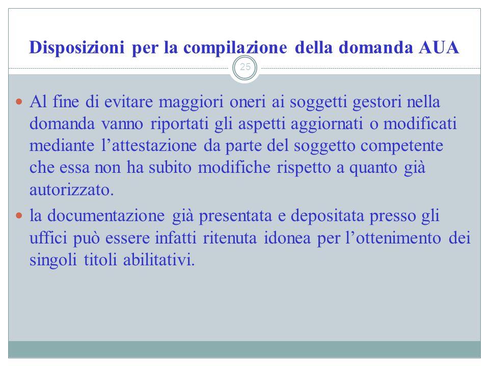 Disposizioni per la compilazione della domanda AUA