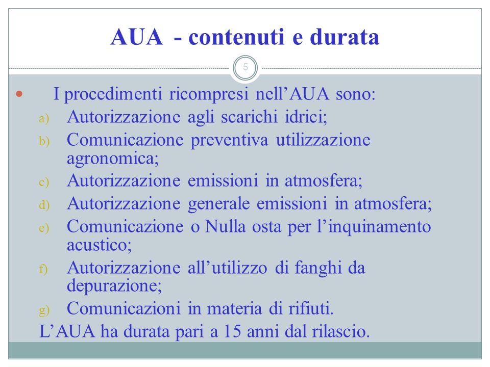 AUA - contenuti e durata