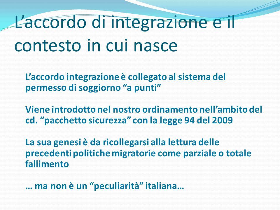 L'accordo di integrazione e il contesto in cui nasce