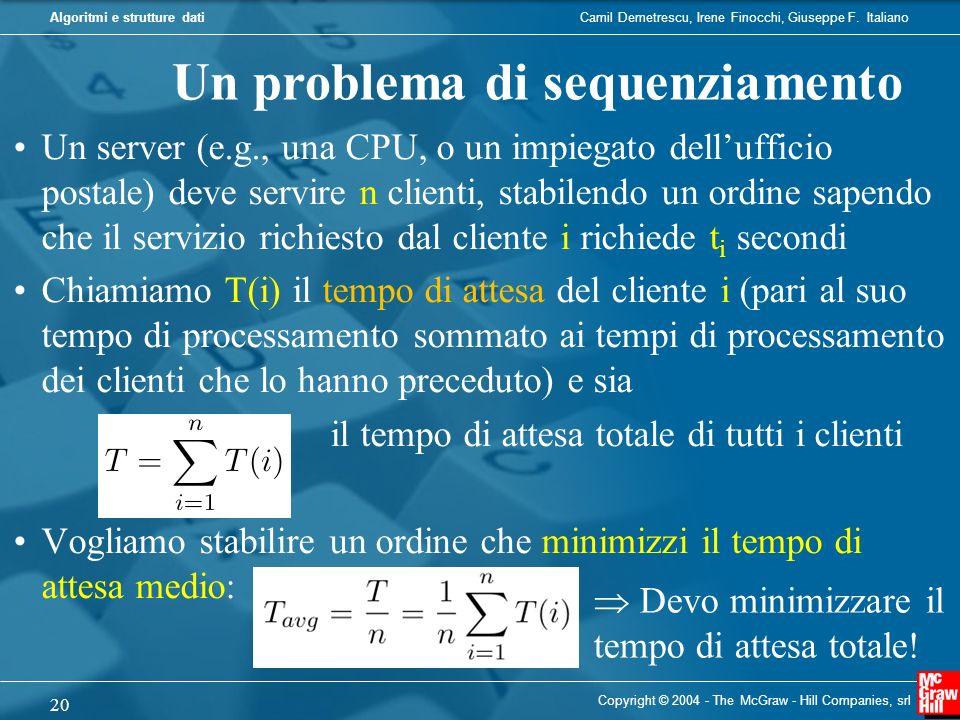 Un problema di sequenziamento