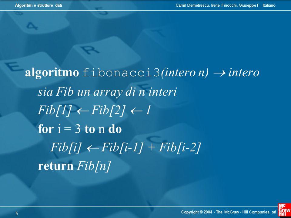 algoritmo fibonacci3(intero n)  intero sia Fib un array di n interi