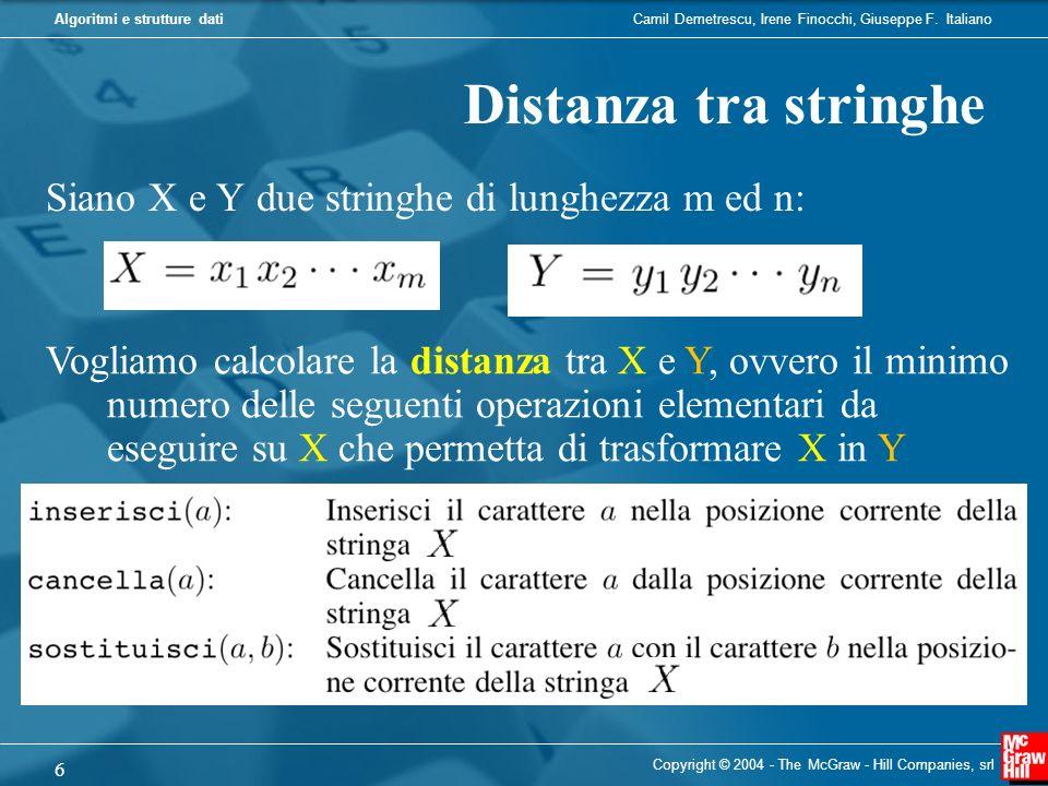 Distanza tra stringhe Siano X e Y due stringhe di lunghezza m ed n: