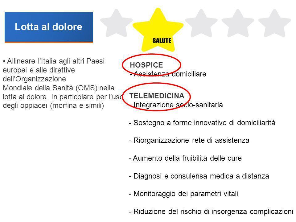 Lotta al dolore • Allineare l'Italia agli altri Paesi europei e alle direttive dell'Organizzazione.