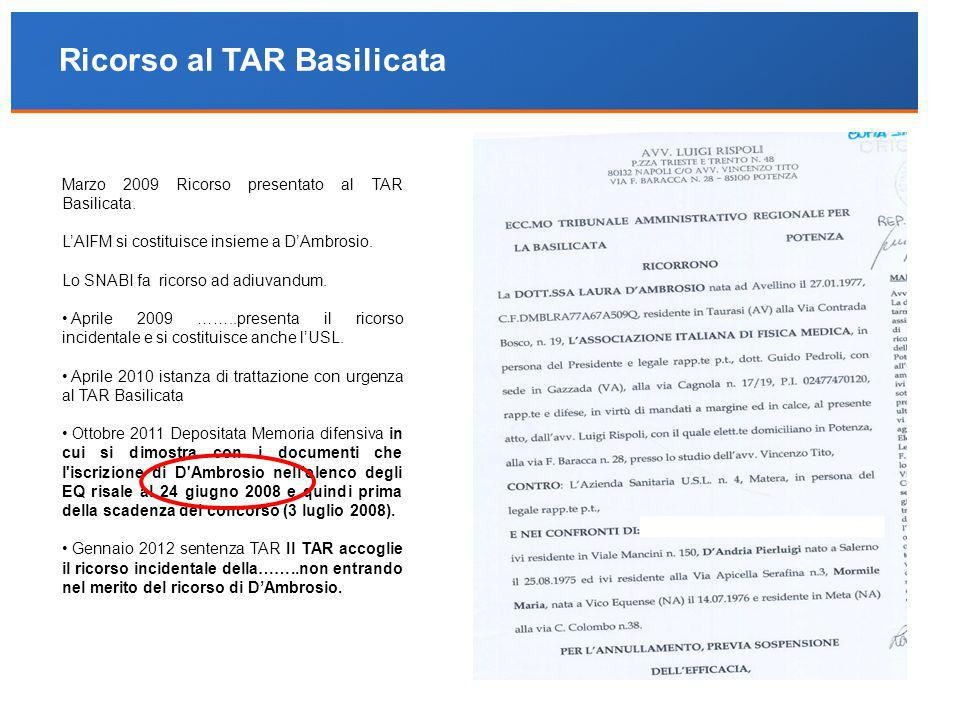 Ricorso al TAR Basilicata