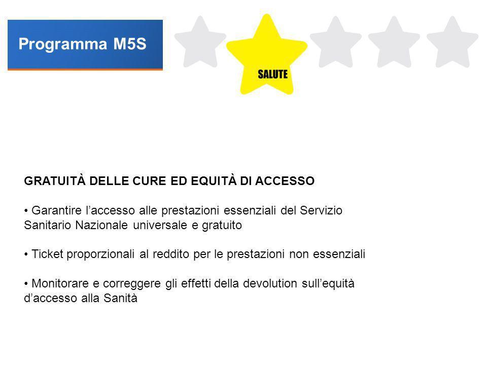 Programma M5S GRATUITÀ DELLE CURE ED EQUITÀ DI ACCESSO