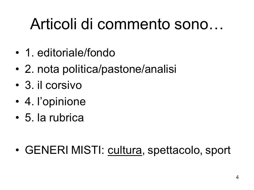 Articoli di commento sono…