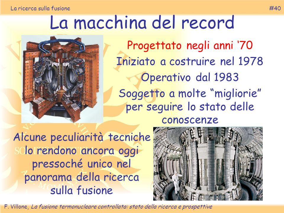 La macchina del record Progettato negli anni '70