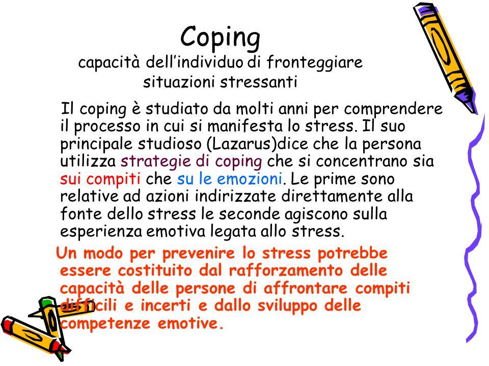 Coping capacità dell'individuo di fronteggiare situazioni stressanti