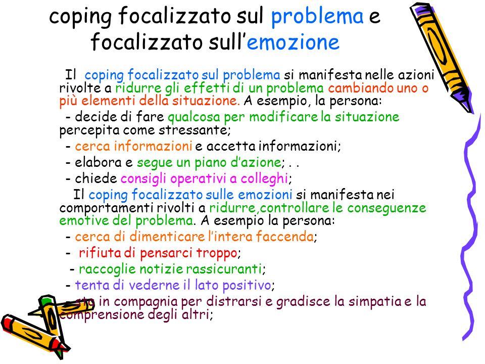 coping focalizzato sul problema e focalizzato sull'emozione