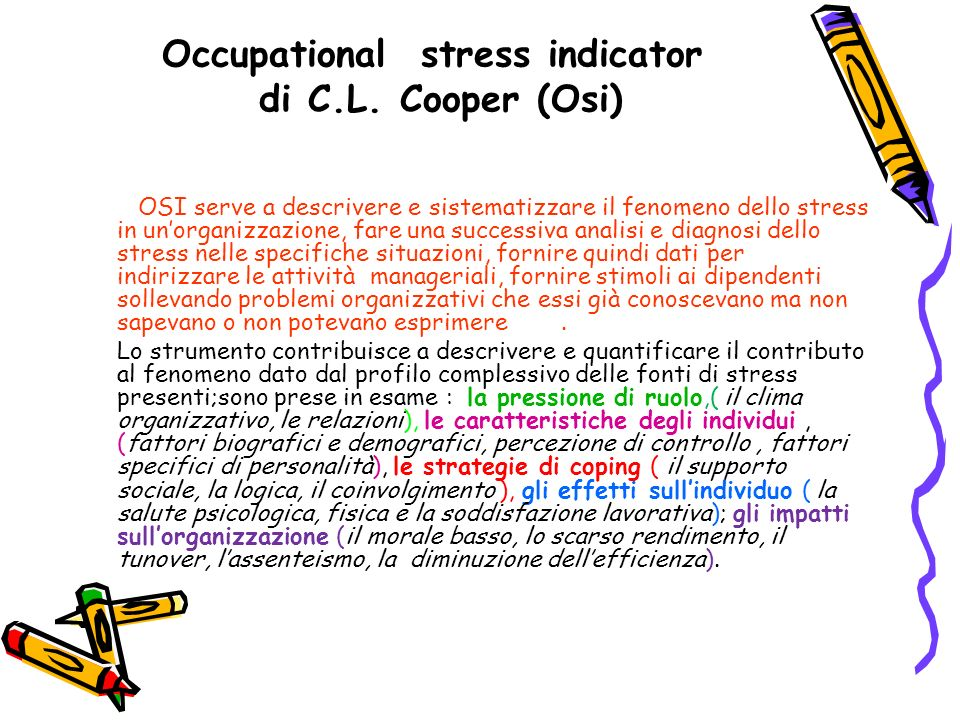 Occupational stress indicator di C.L. Cooper (Osi)