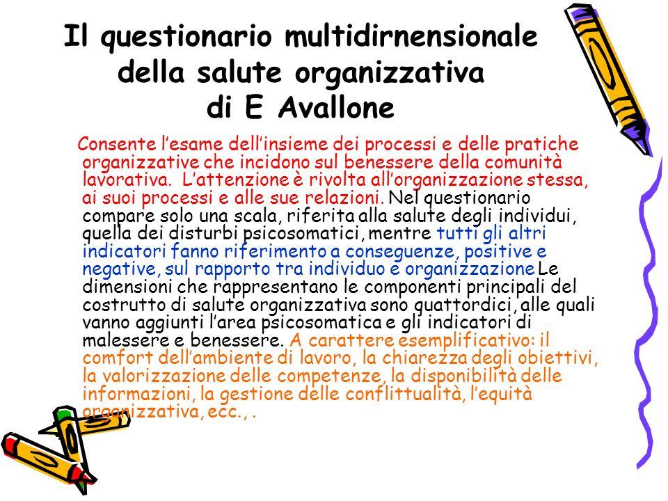Il questionario multidirnensionale della salute organizzativa di E Avallone