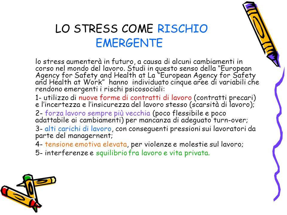 LO STRESS COME RISCHIO EMERGENTE