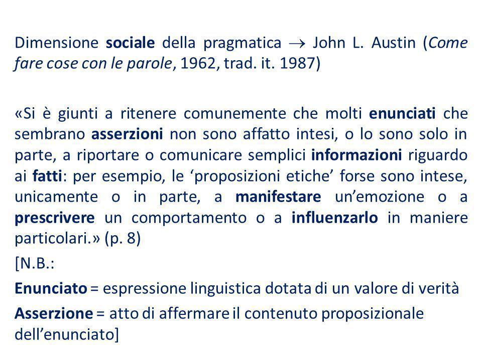 Dimensione sociale della pragmatica  John L