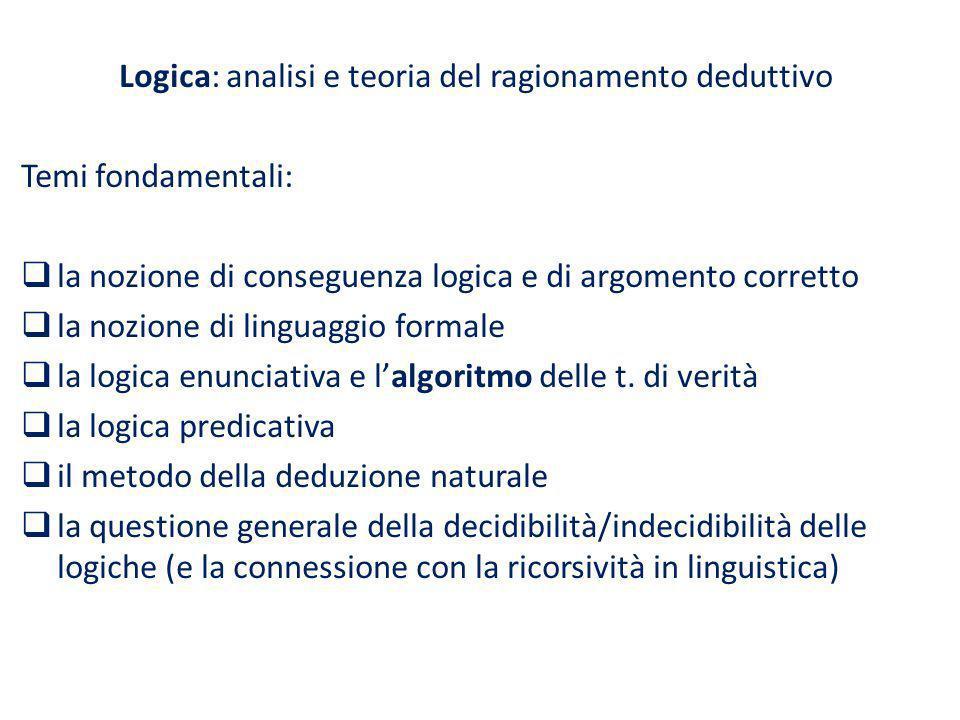 Logica: analisi e teoria del ragionamento deduttivo
